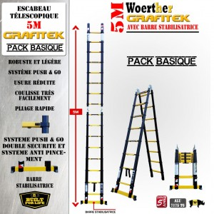 ECHELLE ESCABEAU TELESCOPIQUE WOERTHER, TRIPLE FONCTIONS GRAFITEK 5M/2.5M - PACK BASIQUE