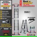 ÉCHELLE ESCABEAU TRIPLE FONCTIONS WOERTHER DOUBLE BARRES STABILISATRICES, GRAFITEK 3M20/1.6M  -  PACK 1 (AVEC PLATEFORME)