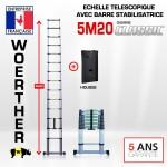 ECHELLE 5M20 AVEC BARRE STABILISATRICE - GAMME CLASSIC + HOUSSE