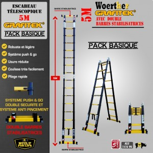 ECHELLE ESCABEAU TELESCOPIQUE WOERTHER DOUBLE BARRES STABILISATRICES, DOUBLE FONCTIONS GRAFITEK 5M/2.5M - PACK BASIQUE
